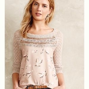 Anthropologie One September Lace Trimmed Pullover